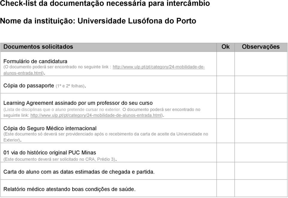 Learning Agreement assinado por um professor do seu curso (Lista de disciplinas que o aluno pretende cursar no exterior.