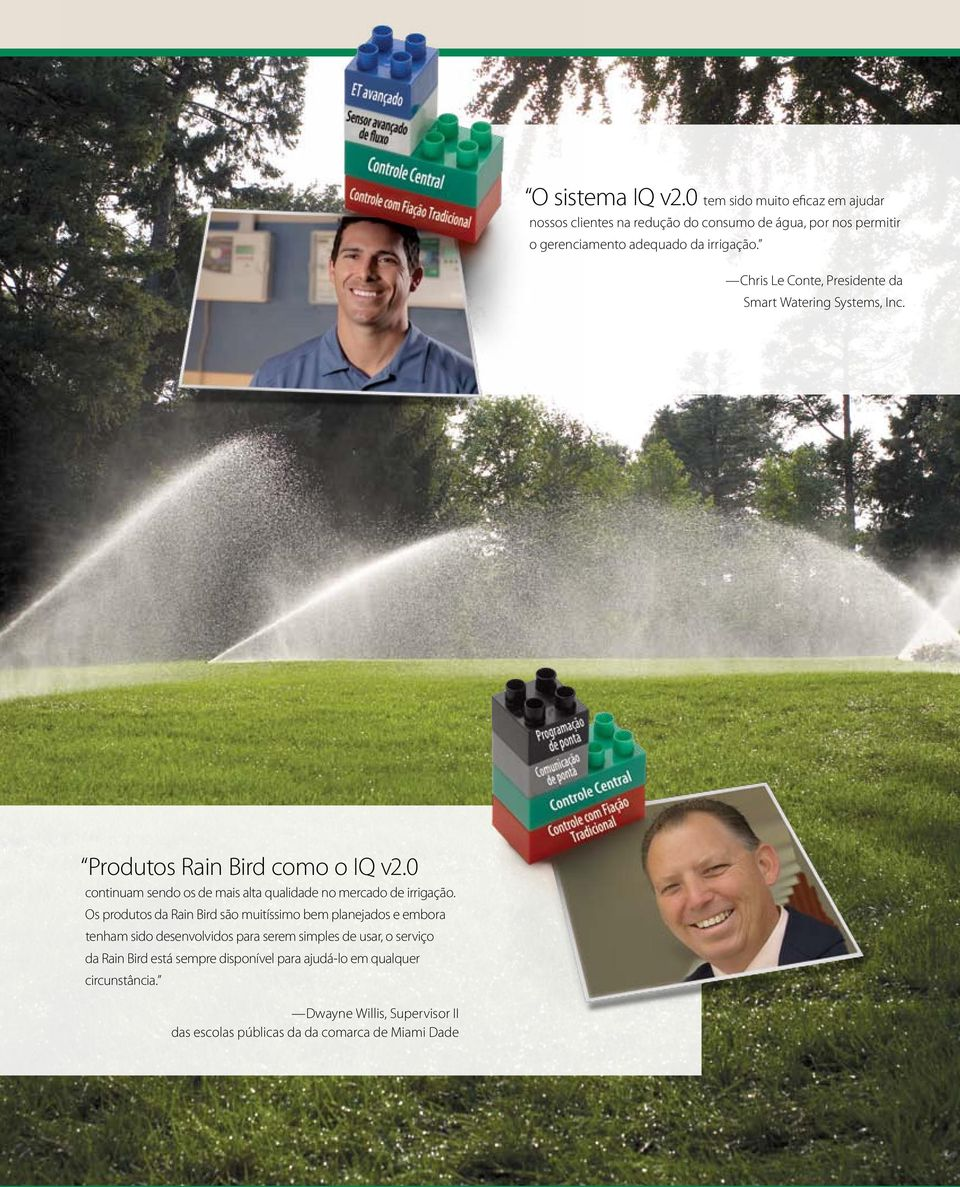 Chris Le Conte, Presidente da Smart Watering Systems, Inc. Produtos Rain Bird como o IQ v2.