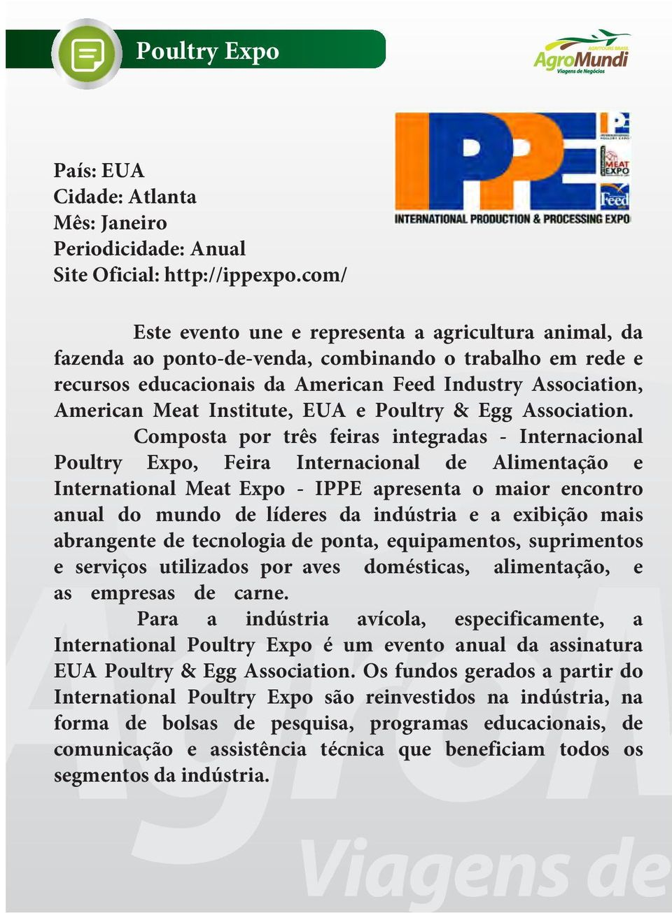 Institute, EUA e Poultry & Egg Association.