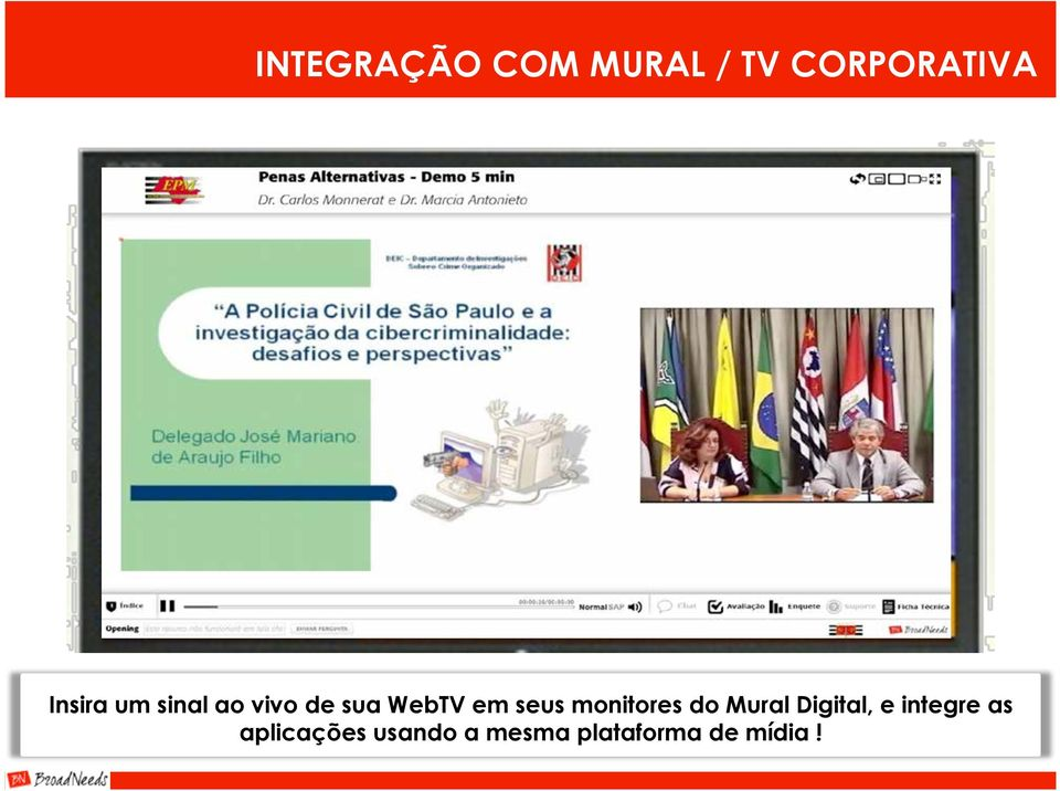 seus monitores do Mural Digital, e integre