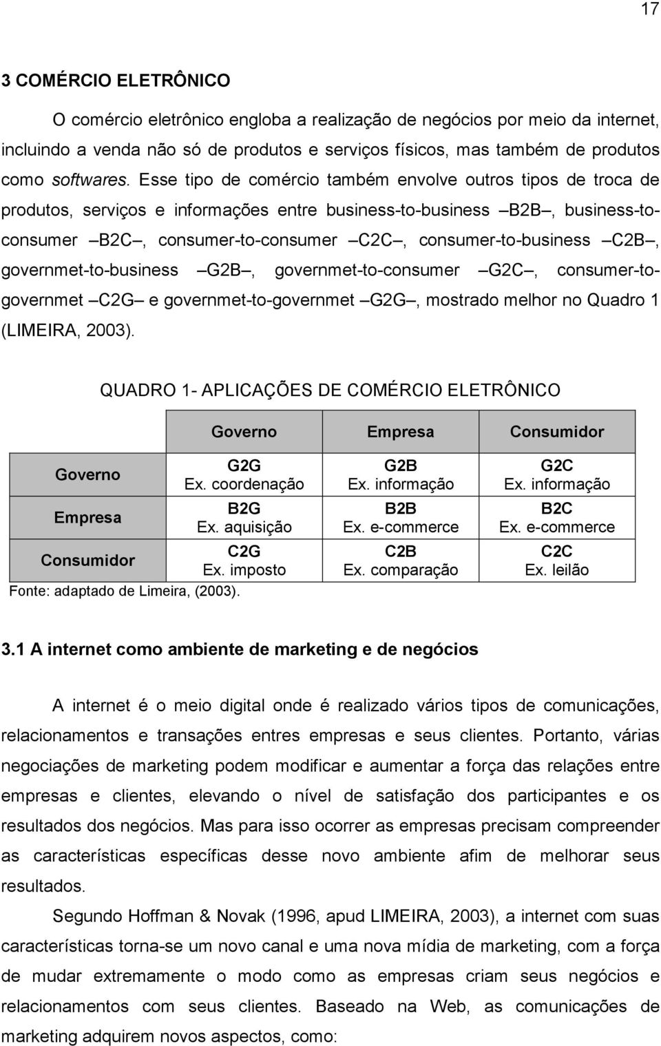 C2B, governmet-to-business G2B, governmet-to-consumer G2C, consumer-togovernmet C2G e governmet-to-governmet G2G, mostrado melhor no Quadro 1 (LIMEIRA, 2003).