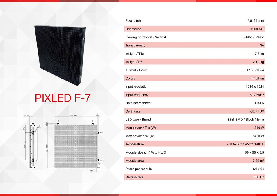 4 billion PIXLED F-7 Input resolution 1280 x 1024 Input frequency 50 / 60Hz Data interconnect CAT 5 Certificats LED type / Brand Max