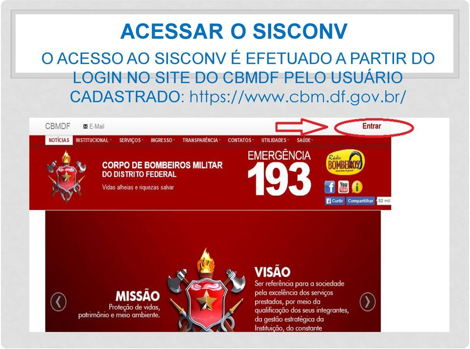 LOGIN NO SITE DO CBMDF PELO