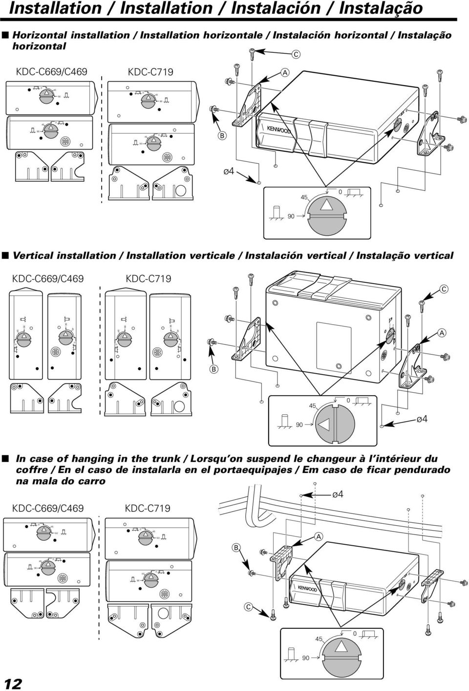 Instalação vertical KDC-C669/C469 KDC-C719 C A B ø4 In case of hanging in the trunk / Lorsqu on suspend le changeur à l intérieur