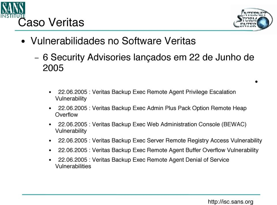 2005 : Veritas Backup Exec Admin Plus Pack Option Remote Heap Overflow 22.06.