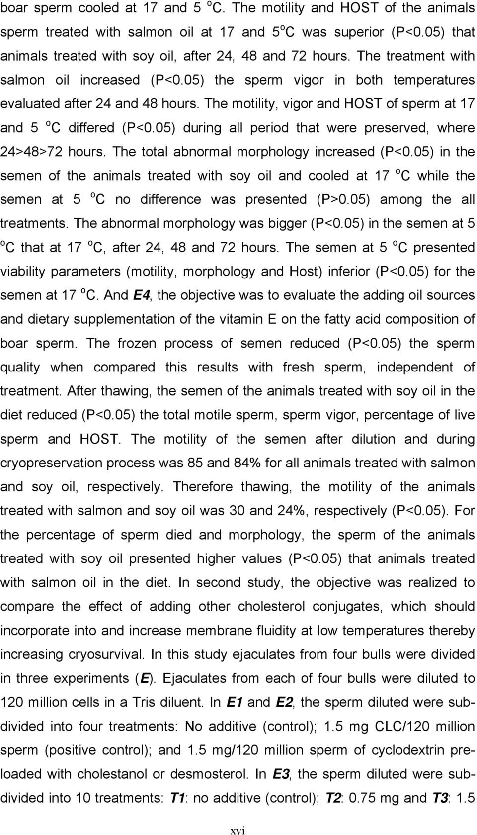 The motility, vigor and HOST of sperm at 17 and 5 o C differed (P<0.05) during all period that were preserved, where 24>48>72 hours. The total abnormal morphology increased (P<0.