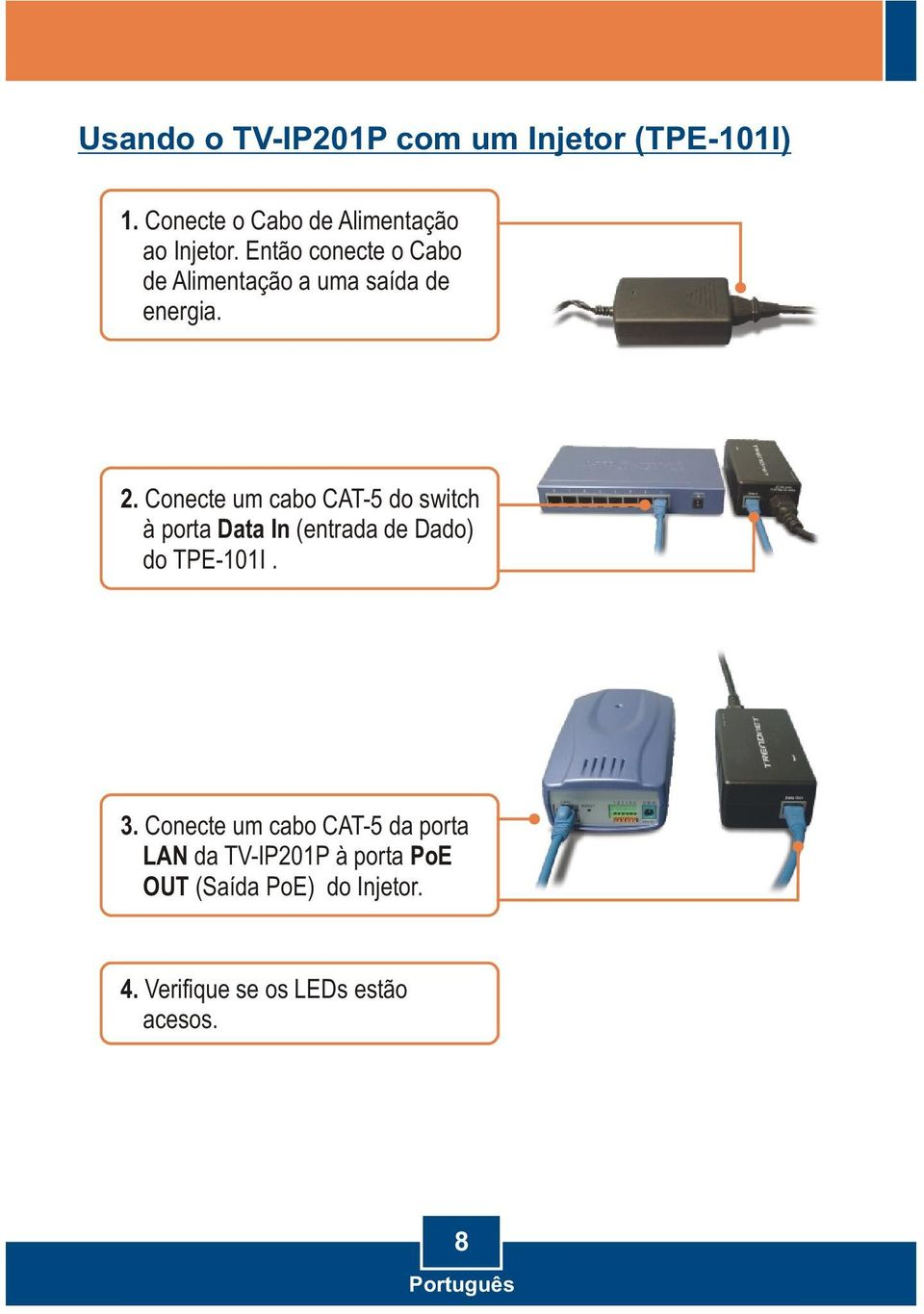 Conecte um cabo CAT-5 do switch à porta Data In (entrada de Dado) do TPE-101I. 3.