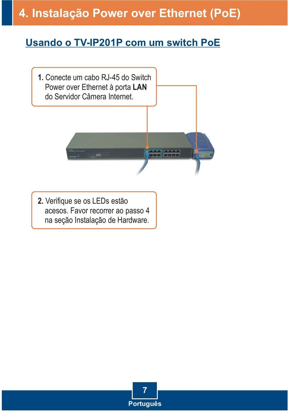 Conecte um cabo RJ-45 do Switch Power over Ethernet à porta LAN do