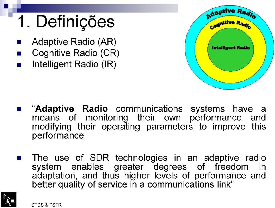 improve this performance The use of SDR technologies in an adaptive radio system enables greater degrees of