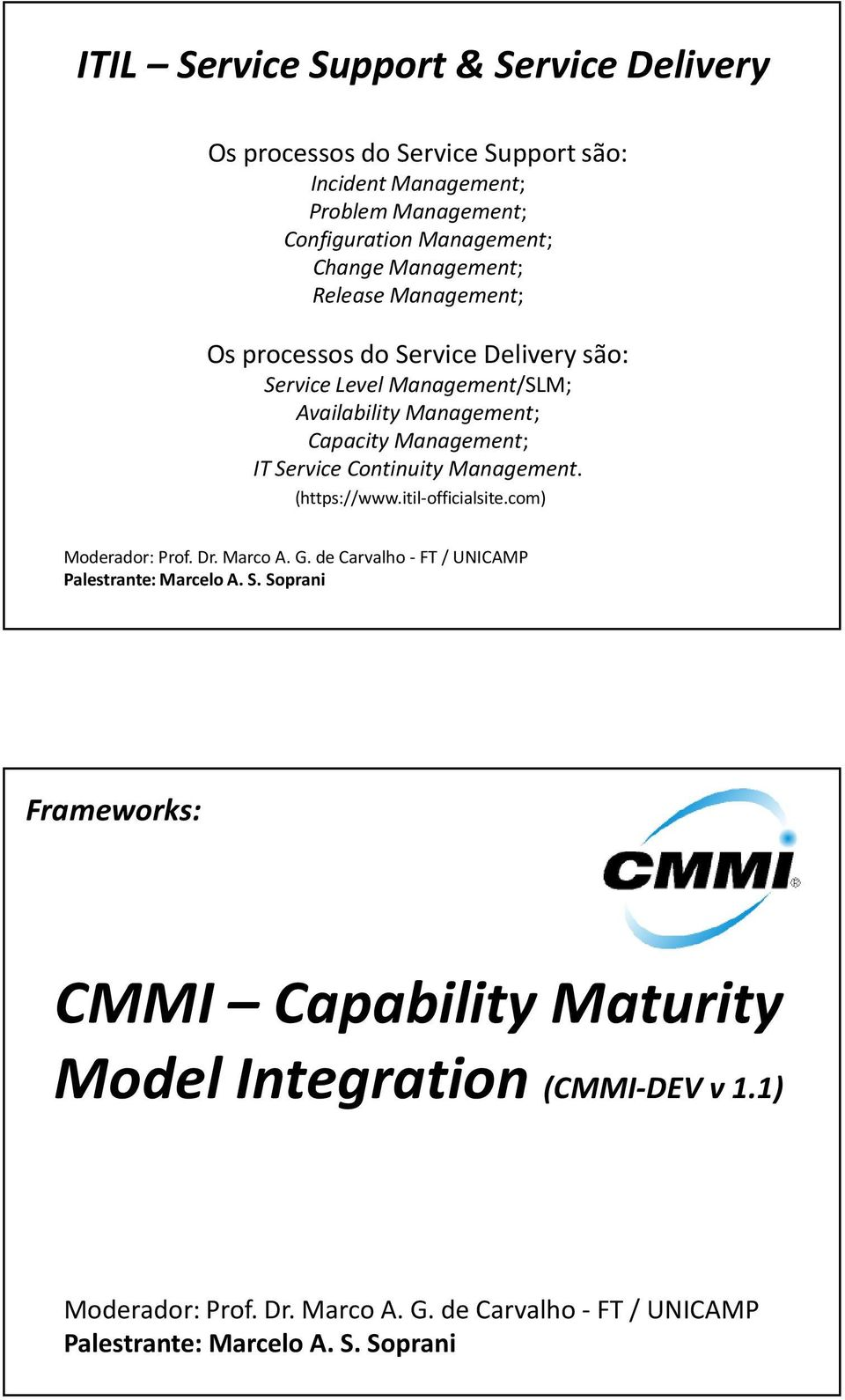 são: Service Level Management/SLM; Availability Management; Capacity Management; IT Service Continuity
