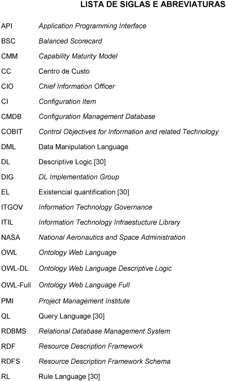 Existencial quantification [30] ITGOV ITIL NASA OWL OWL-DL OWL-Full PMI Information Technology Governance Information Technology Infraestucture Library National Aeronautics and Space Administration