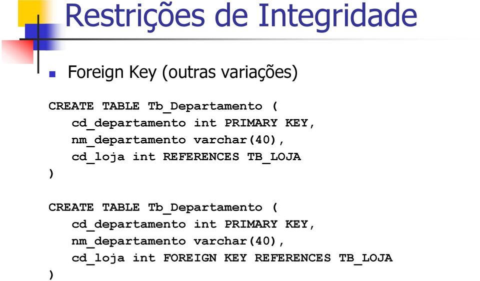 int REFERENCES TB_LOJA CREATE TABLE Tb_Departamento (  int FOREIGN KEY