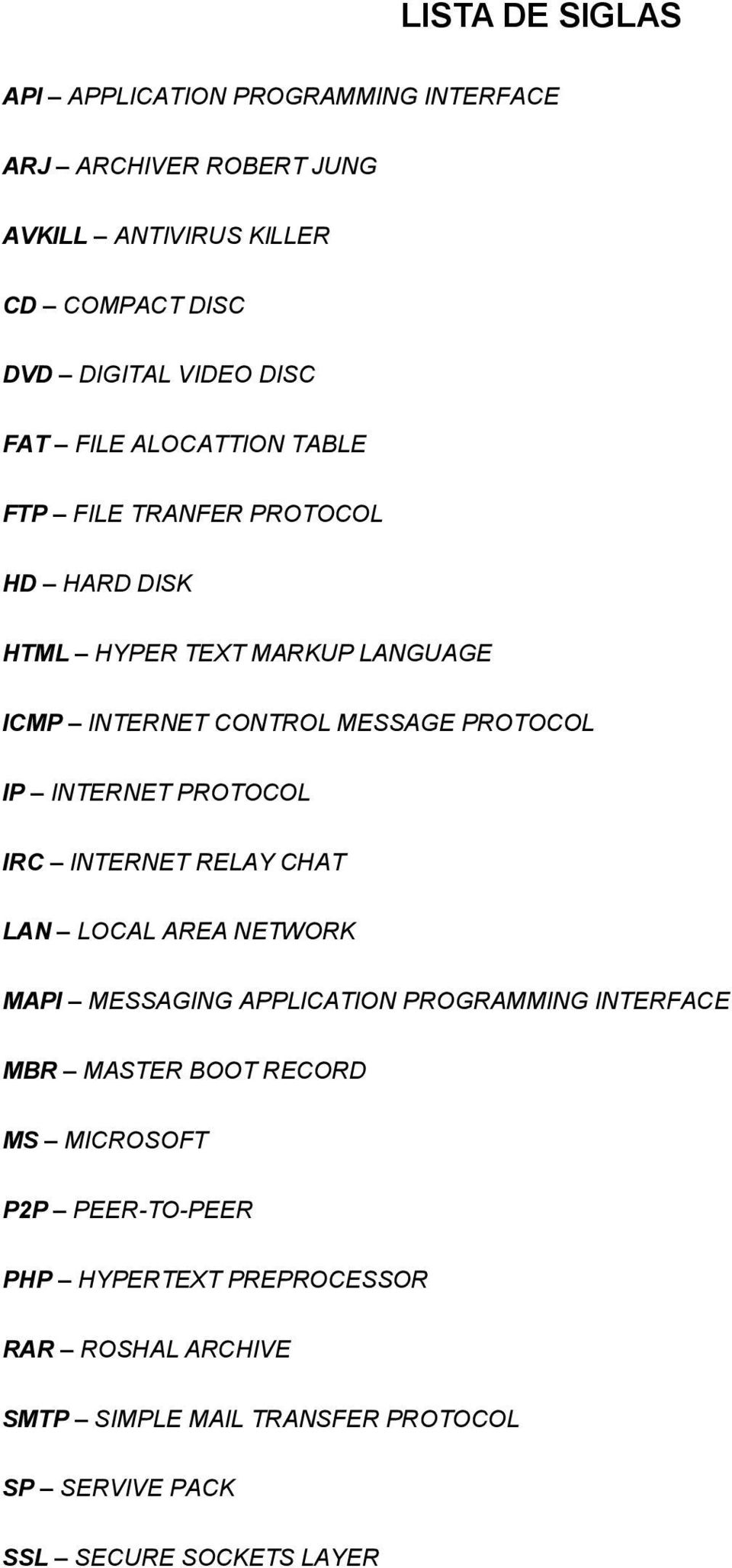 INTERNET PROTOCOL IRC INTERNET RELAY CHAT LAN LOCAL AREA NETWORK MAPI MESSAGING APPLICATION PROGRAMMING INTERFACE MBR MASTER BOOT RECORD MS