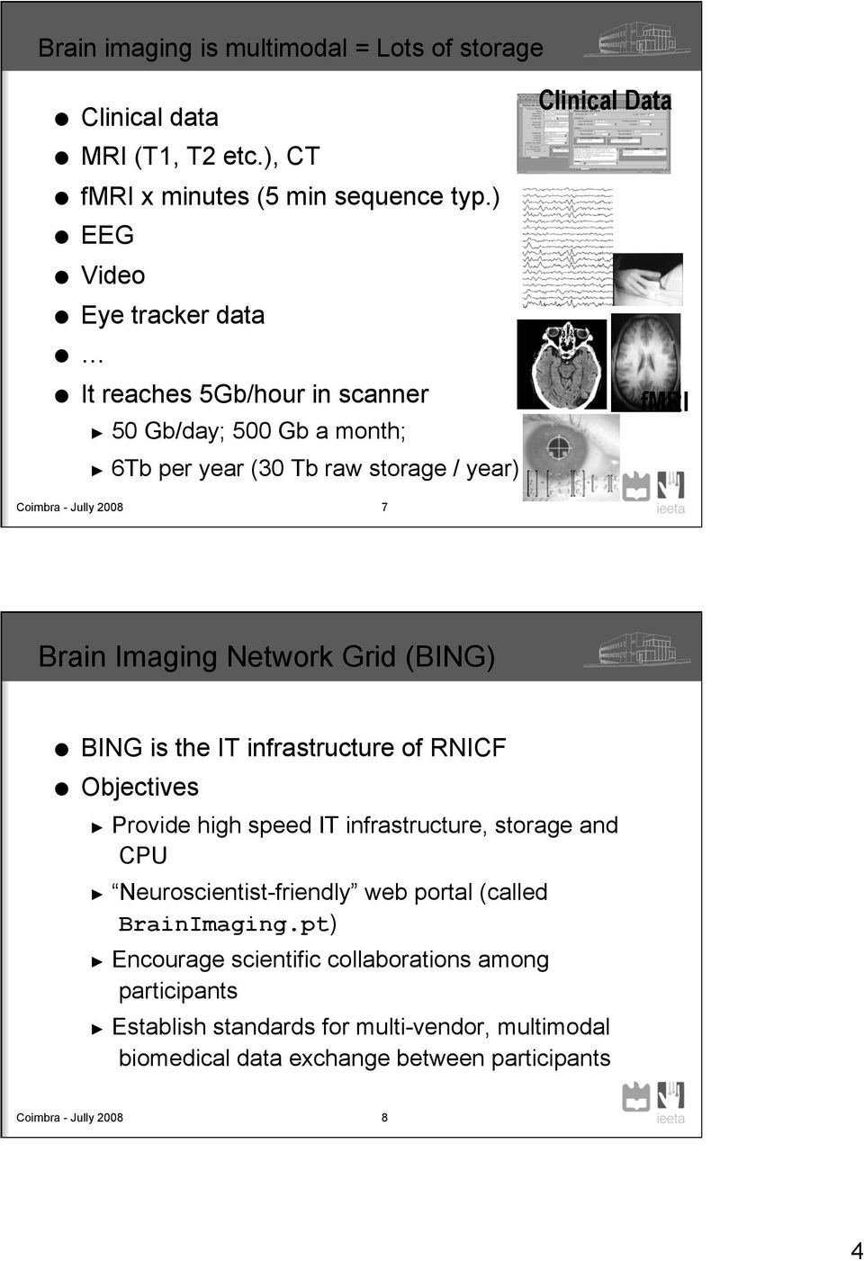 2008 7 Brain Imaging Network Grid (BING) BING is the IT infrastructure of RNICF Objectives Provide high speed IT infrastructure, storage and CPU