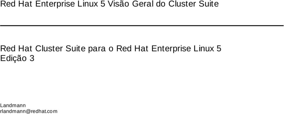 Cluster Suite para o Red Hat