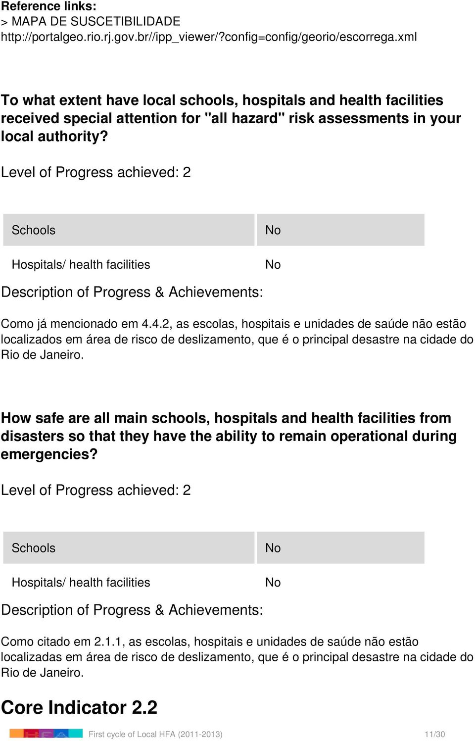 Level of Progress achieved: 2 Schools Hospitals/ health facilities Como já mencionado em 4.