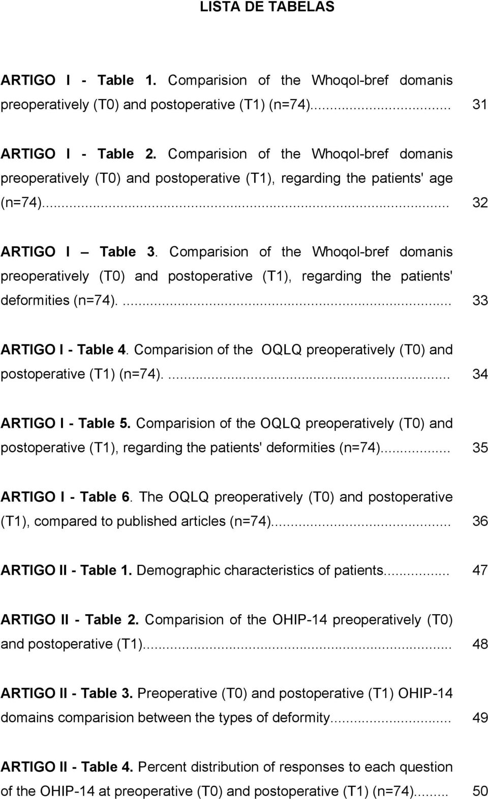 Comparision of the Whoqol-bref domanis preoperatively (T0) and postoperative (T1), regarding the patients' deformities (n=74).... 33 ARTIGO I - Table 4.