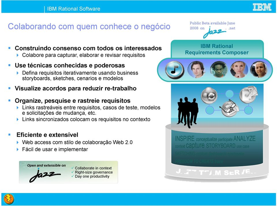 storyboards, sketches, cenarios e modelos Visualize acordos para reduzir re-trabalho IBM Requirements Composer Organize, pesquise e rastreie requisitos Links rastreáveis entre requisitos, casos de