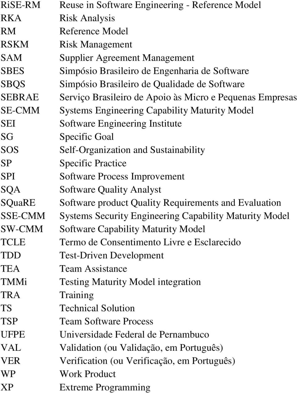 e Pequenas Empresas Systems Engineering Capability Maturity Model Software Engineering Institute Specific Goal Self-Organization and Sustainability Specific Practice Software Process Improvement