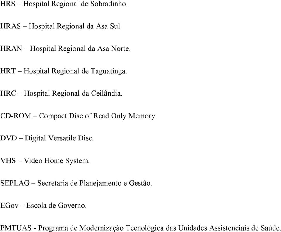 HRC Hospital Regional da Ceilândia. CD-ROM Compact Disc of Read Only Memory. DVD Digital Versatile Disc.