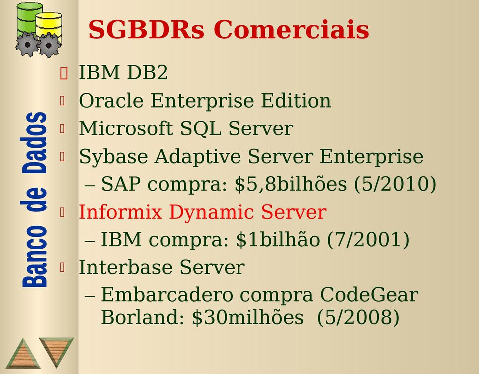 (5/2010) Informix Dynamic Server IBM compra: $1bilhão (7/2001)