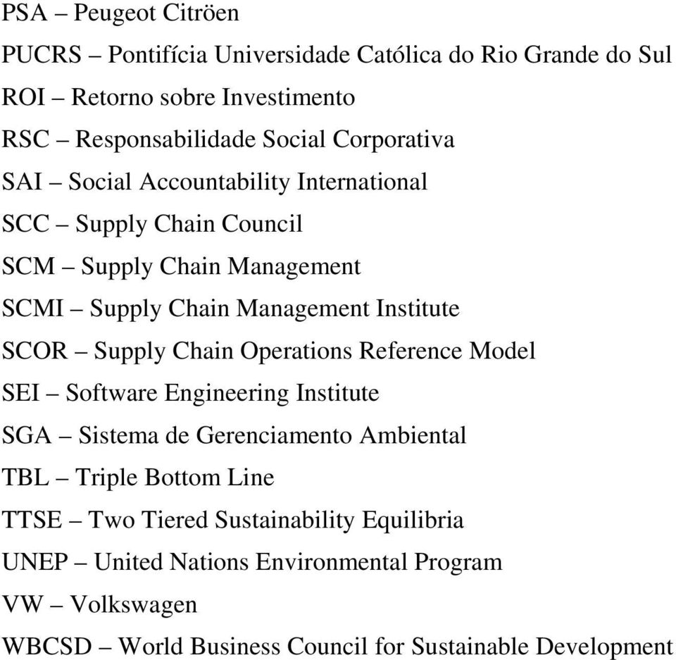 SCOR Supply Chain Operations Reference Model SEI Software Engineering Institute SGA Sistema de Gerenciamento Ambiental TBL Triple Bottom Line