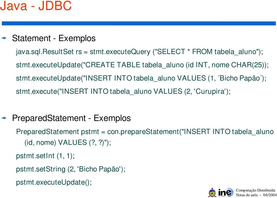 "executeupdate(""insert INTO tabela_aluno VALUES (1, Bicho Papão ); stmt."
