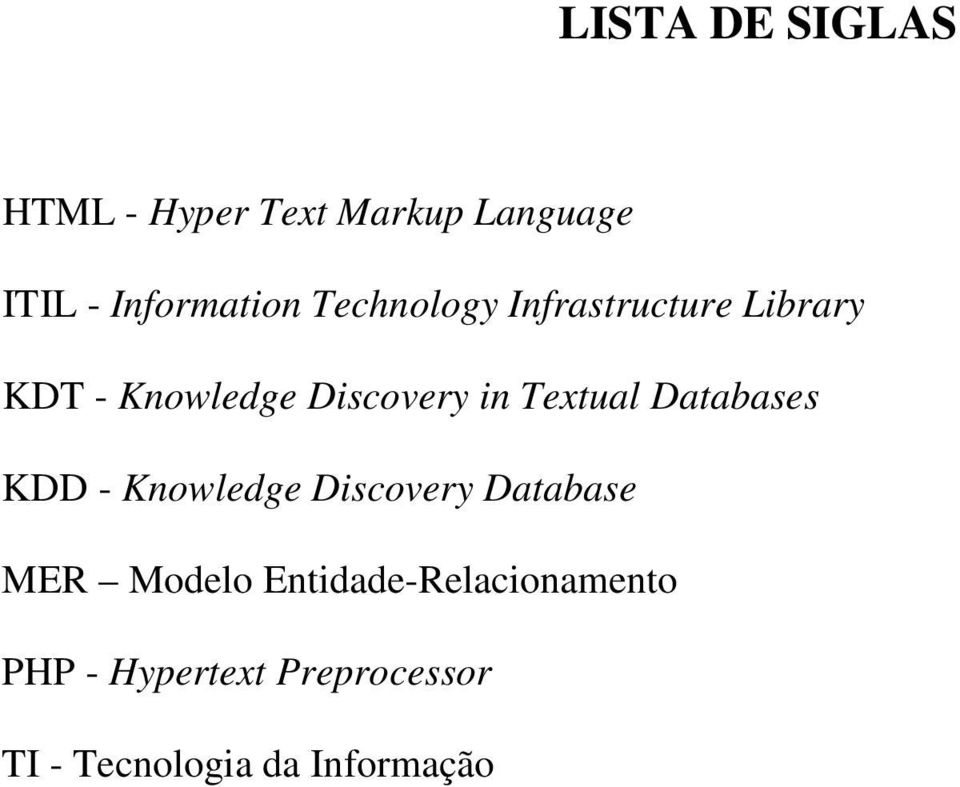 Textual Databases KDD - Knowledge Discovery Database MER Modelo