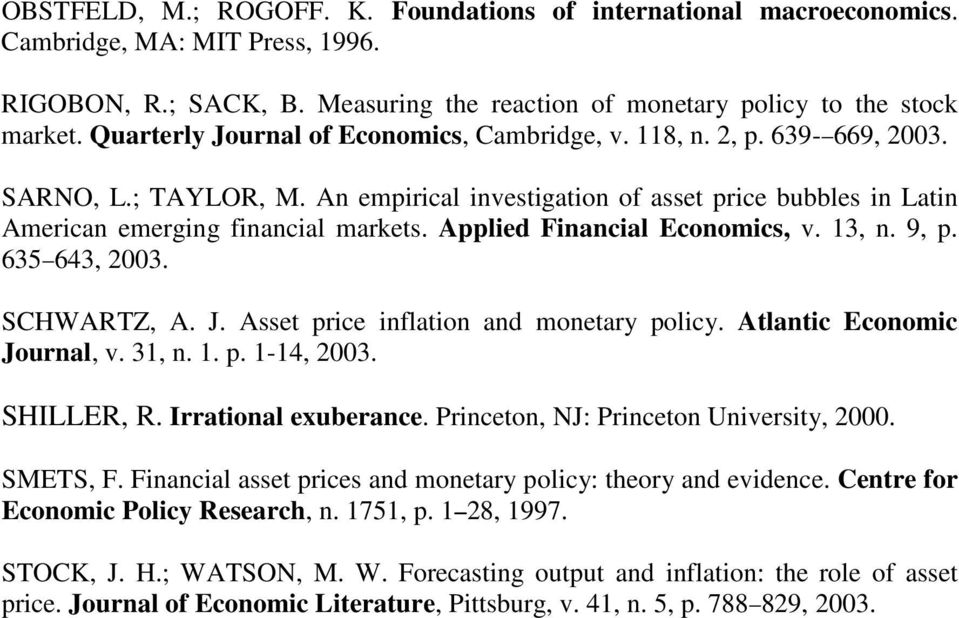 Applied Financial Economics, v. 13, n. 9, p. 635 643, 2003. SCHWARTZ, A. J. Asse price inflaion and moneary policy. Alanic Economic Journal, v. 31, n. 1. p. 1-14, 2003. SHILLER, R.