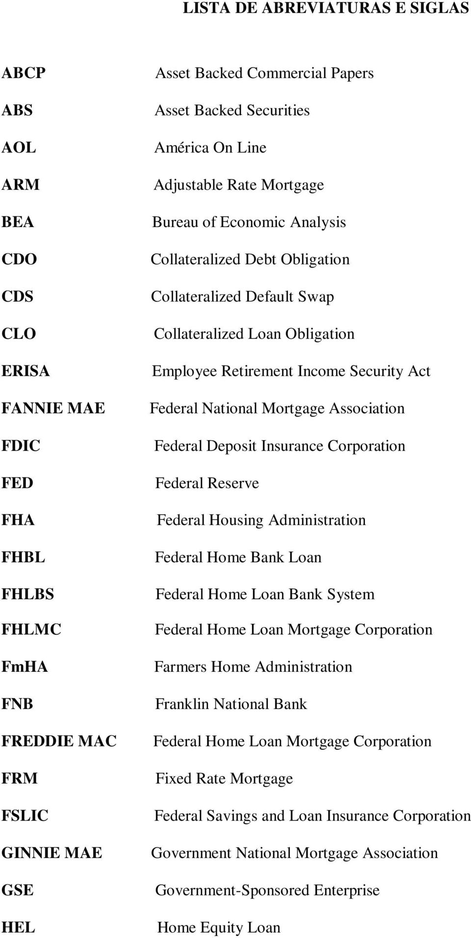 Income Security Act Federal National Mortgage Association Federal Deposit Insurance Corporation Federal Reserve Federal Housing Administration Federal Home Bank Loan Federal Home Loan Bank System