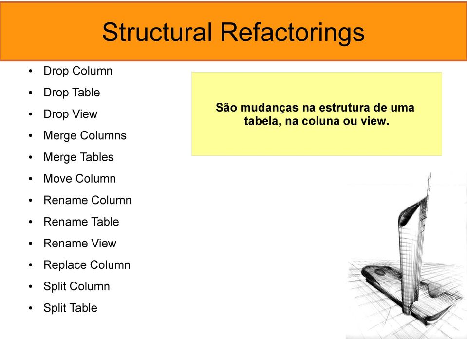 Table Rename View Replace Column Split Column São mudanças