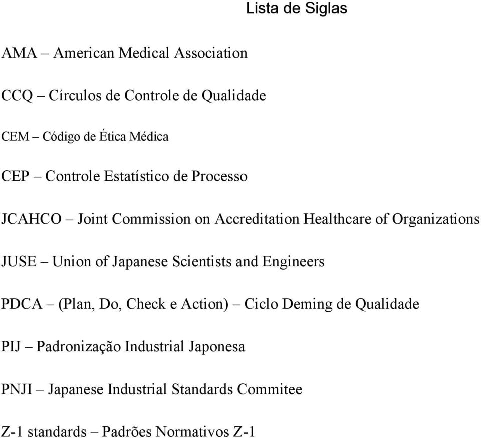 Organizations JUSE Union of Japanese Scientists and Engineers PDCA (Plan, Do, Check e Action) Ciclo Deming de