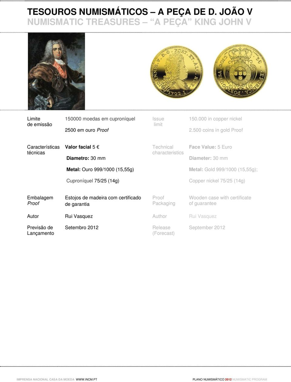 500 coins in gold Valor facial 5 Diametro: 30 mm Face Value: 5 Euro Diameter: 30 mm Metal: Ouro 999/1000 (15,55g) Metal: Gold