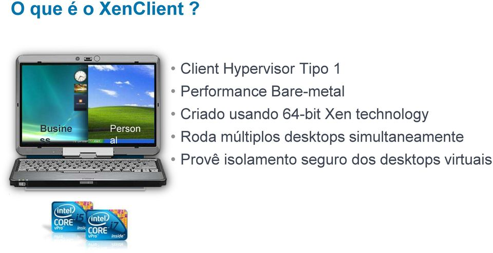XenClient X86 Hardware Client Hypervisor Tipo 1 Performance