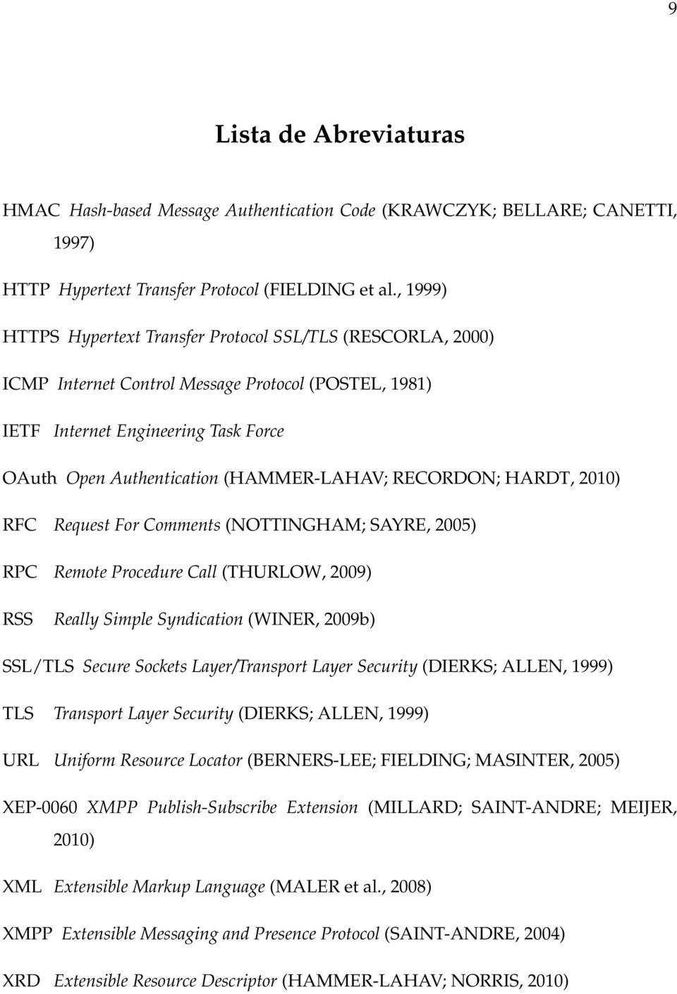 RECORDON; HARDT, 2010) RFC Request For Comments (NOTTINGHAM; SAYRE, 2005) RPC Remote Procedure Call (THURLOW, 2009) RSS Really Simple Syndication (WINER, 2009b) SSL/TLS Secure Sockets Layer/Transport