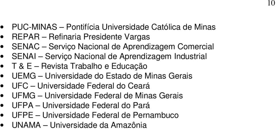 Universidade do Estado de Minas Gerais UFC Universidade Federal do Ceará UFMG Universidade Federal de Minas