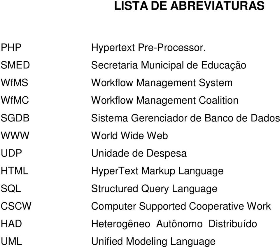 Gerenciador de Banco de Dados World Wide Web Unidade de Despesa HyperText Markup Language Structured