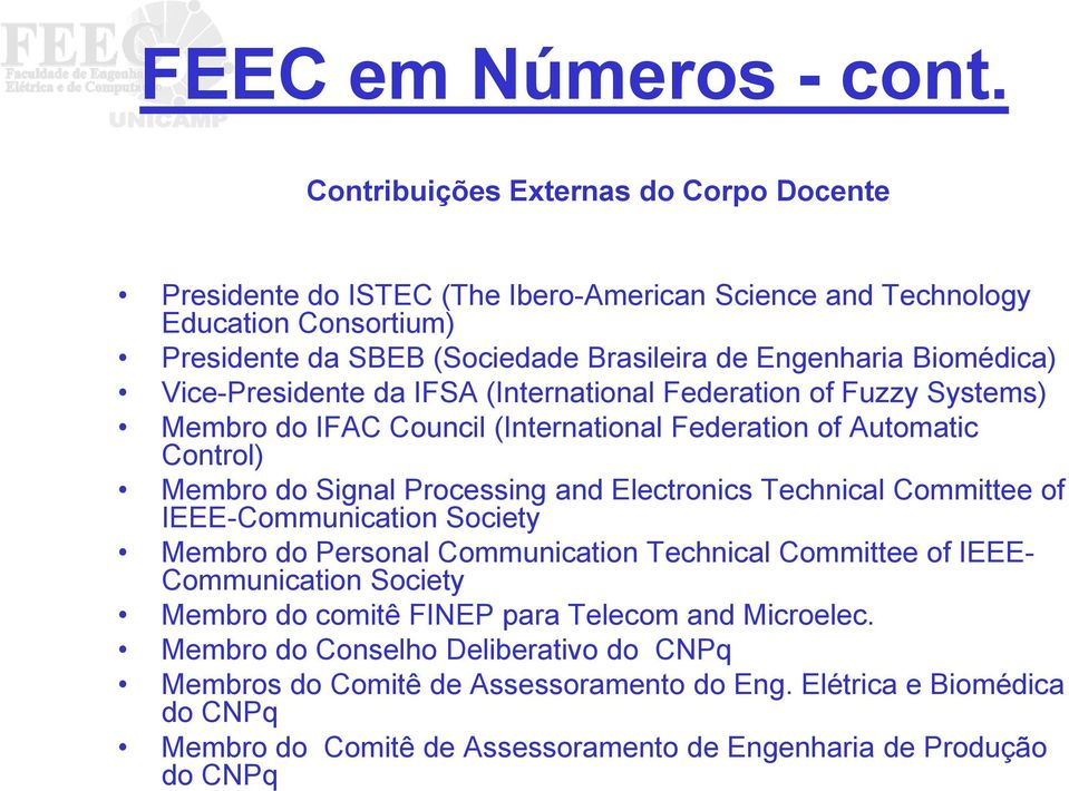 Vice-Presidente da IFSA (International Federation of Fuzzy Systems) Membro do IFAC Council (International Federation of Automatic Control) Membro do Signal Processing and Electronics