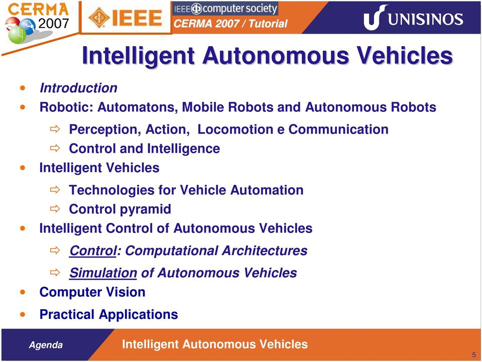 Technologies for Vehicle Automation Control pyramid Intelligent Control of Autonomous Vehicles