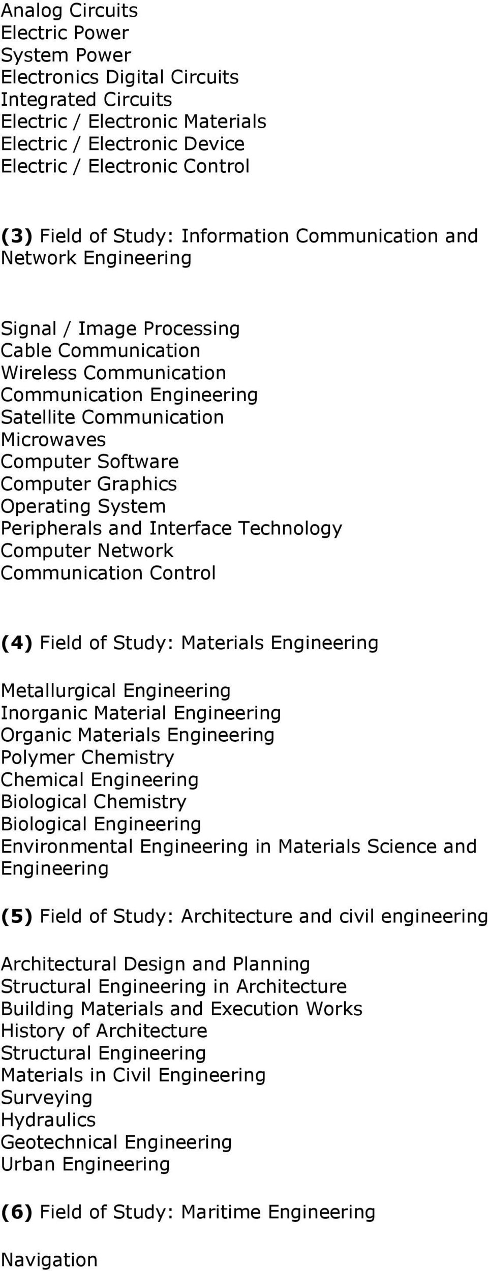 Software Computer Graphics Operating System Peripherals and Interface Technology Computer Network Communication Control (4) Field of Study: Materials Engineering Metallurgical Engineering Inorganic