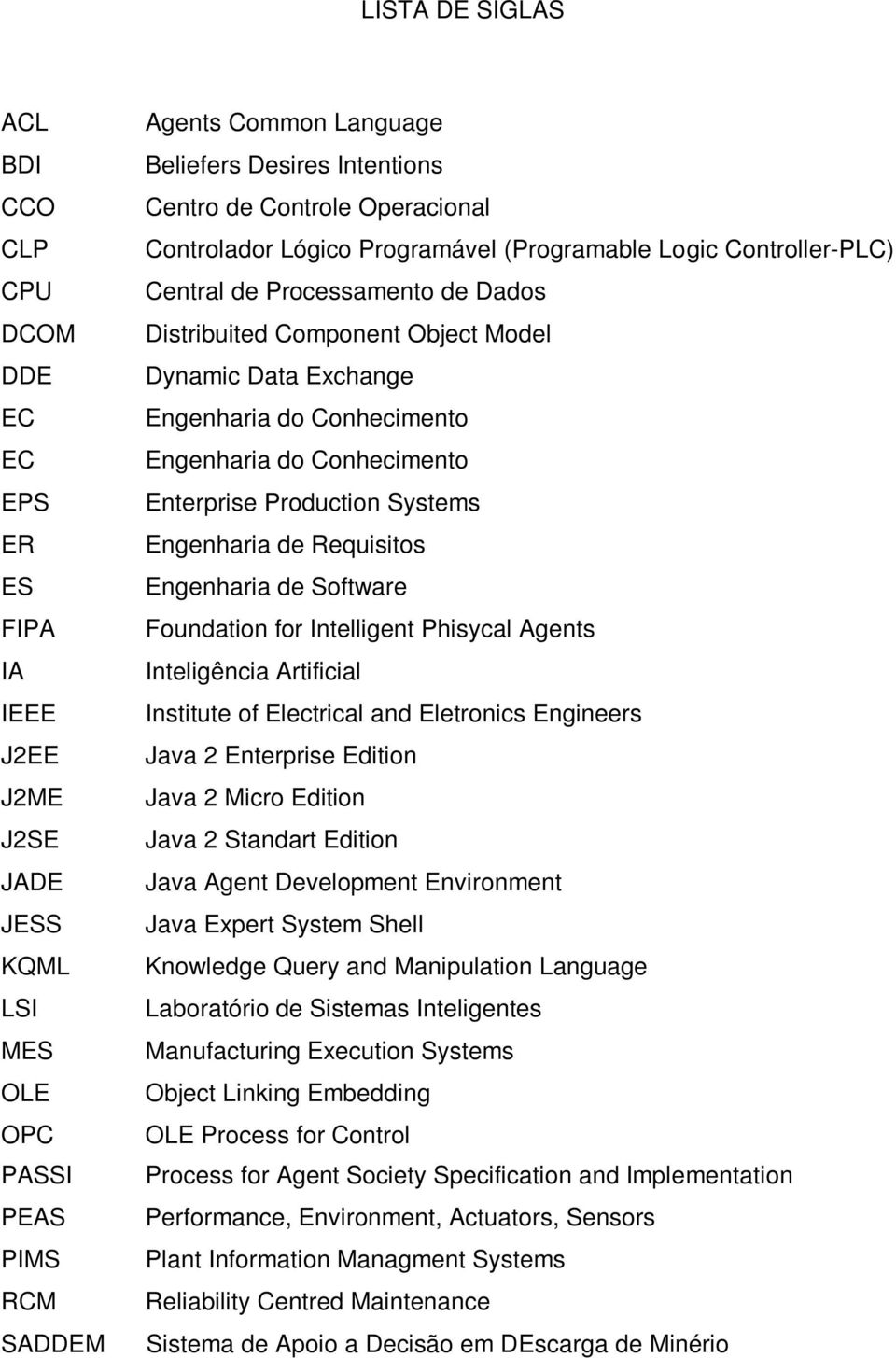 Engenharia do Conhecimento Engenharia do Conhecimento Enterprise Production Systems Engenharia de Requisitos Engenharia de Software Foundation for Intelligent Phisycal Agents Inteligência Artificial