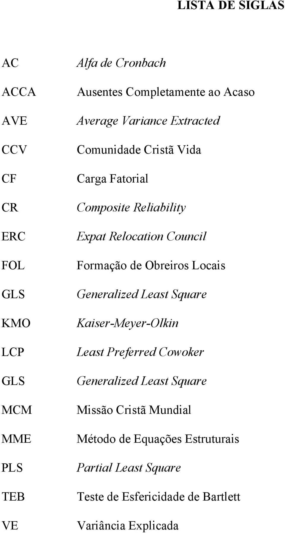 Formação de Obreiros Locais Generalized Least Square Kaiser-Meyer-Olkin Least Preferred Cowoker Generalized Least Square