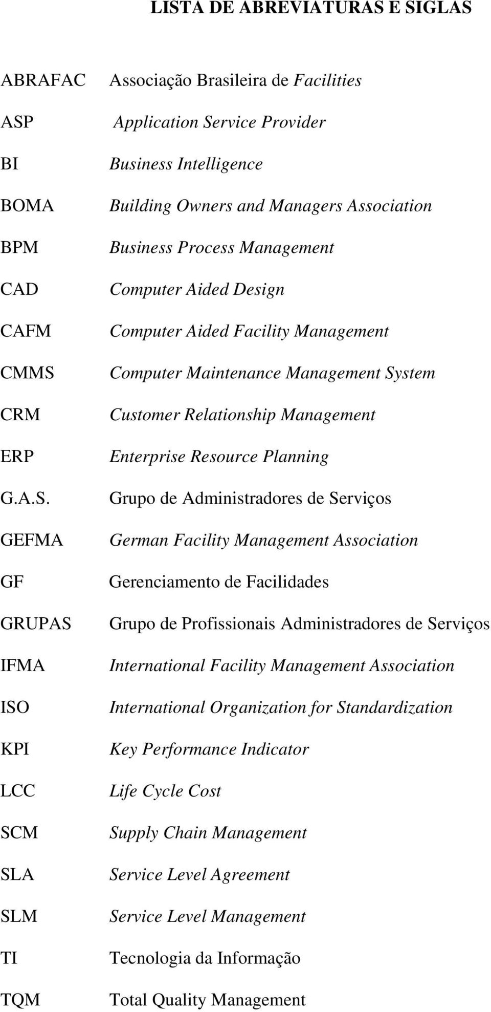 Customer Relationship Management Enterprise Resource Planning Grupo de Administradores de Serviços German Facility Management Association Gerenciamento de Facilidades Grupo de Profissionais