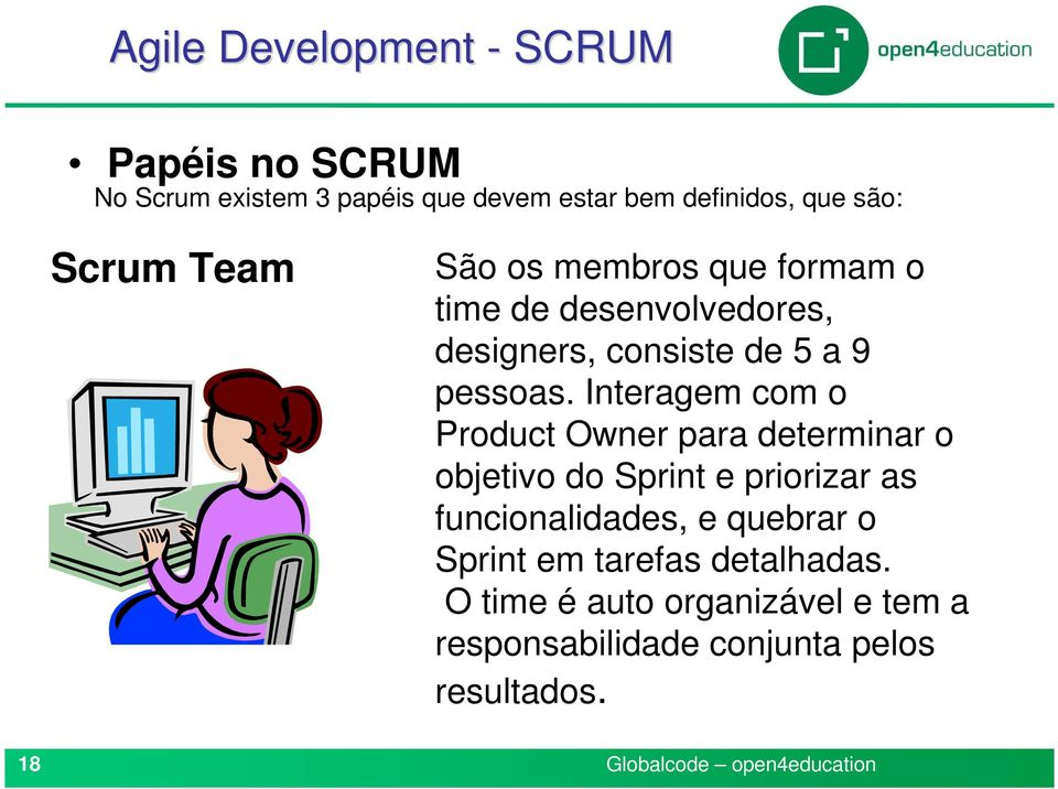 Interagem com o Product Owner para determinar o objetivo do Sprint e priorizar as funcionalidades, e