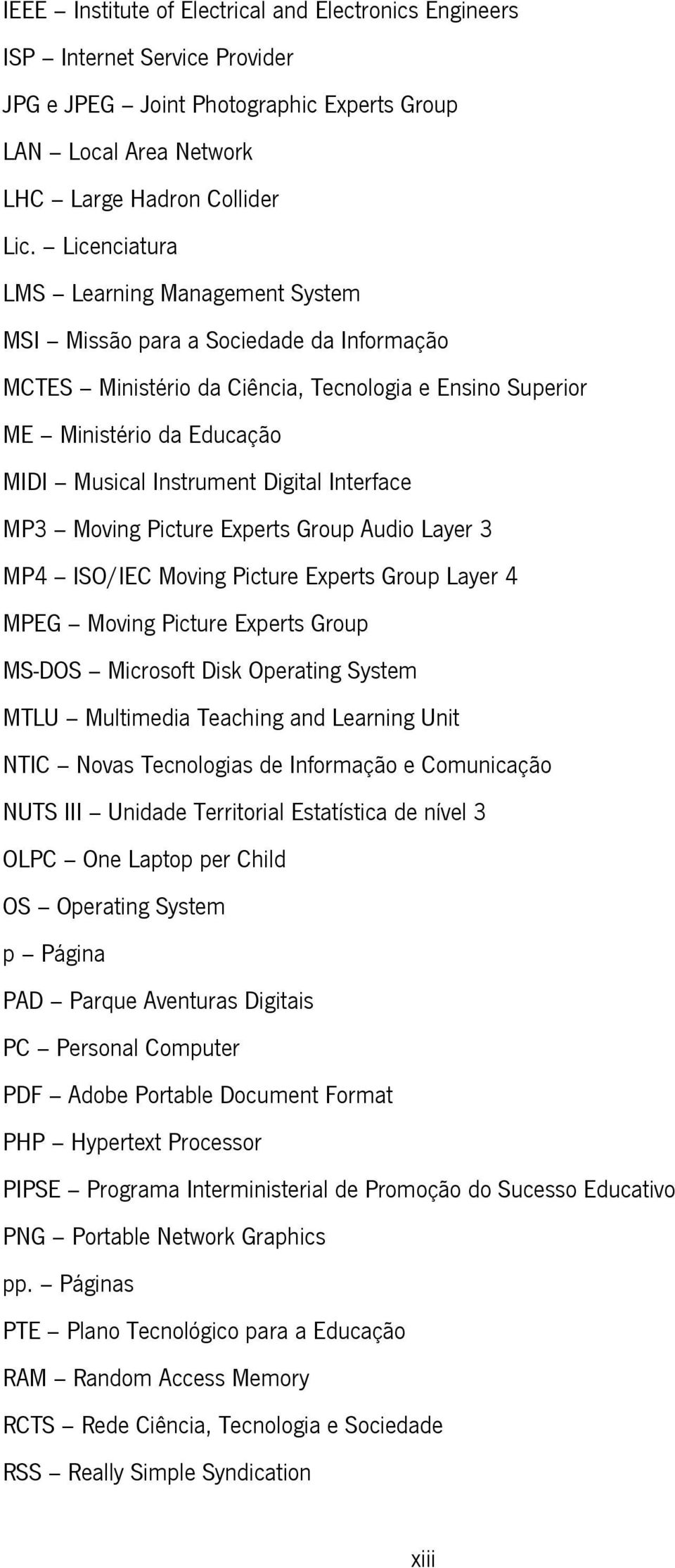 Digital Interface MP3 Moving Picture Experts Group Audio Layer 3 MP4 ISO/IEC Moving Picture Experts Group Layer 4 MPEG Moving Picture Experts Group MS-DOS Microsoft Disk Operating System MTLU