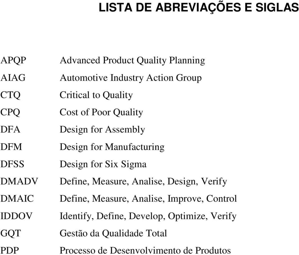 Manufacturing Design for Six Sigma Define, Measure, Analise, Design, Verify Define, Measure, Analise, Improve,
