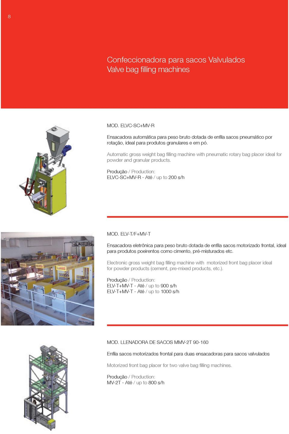 Automatic gross weight bag filling machine with pneumatic rotary bag placer ideal for powder and granular products. ELVC-SC+MV-R - Até / up to 200 s/h MOD.