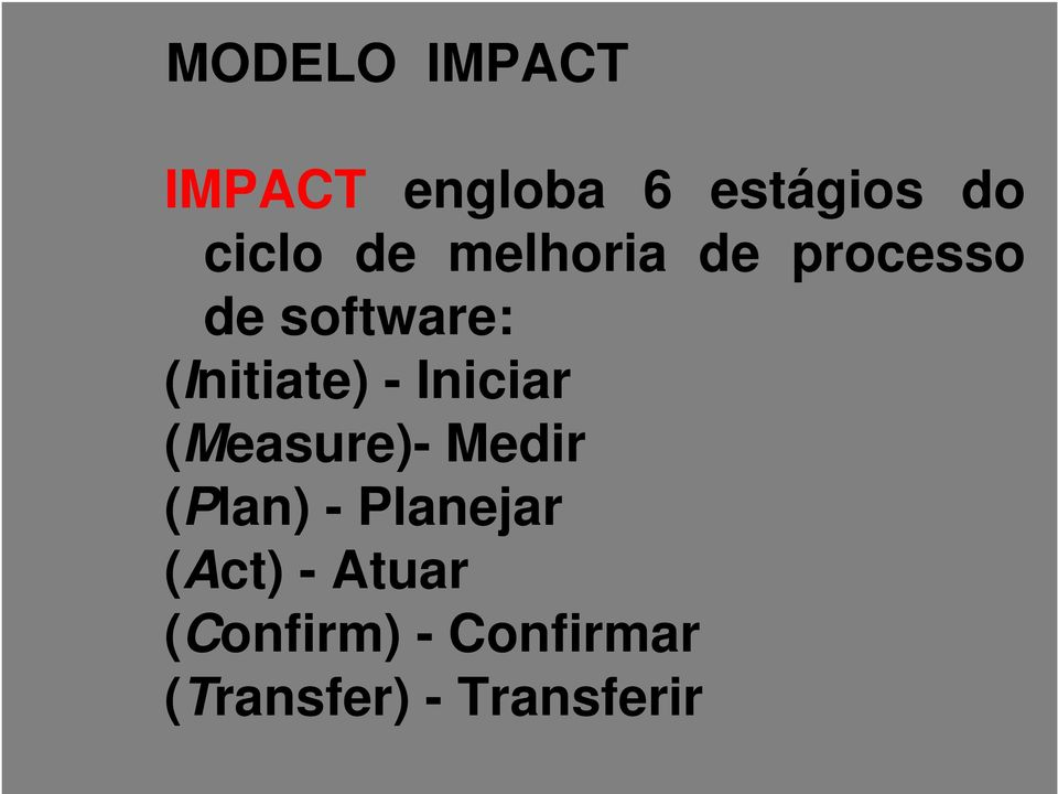 Iniciar (Measure)- Medir (Plan) - Planejar (Act) -