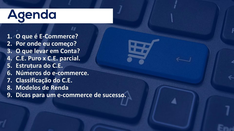 Estrutura do C.E. 6. Números do e-commerce. 7.