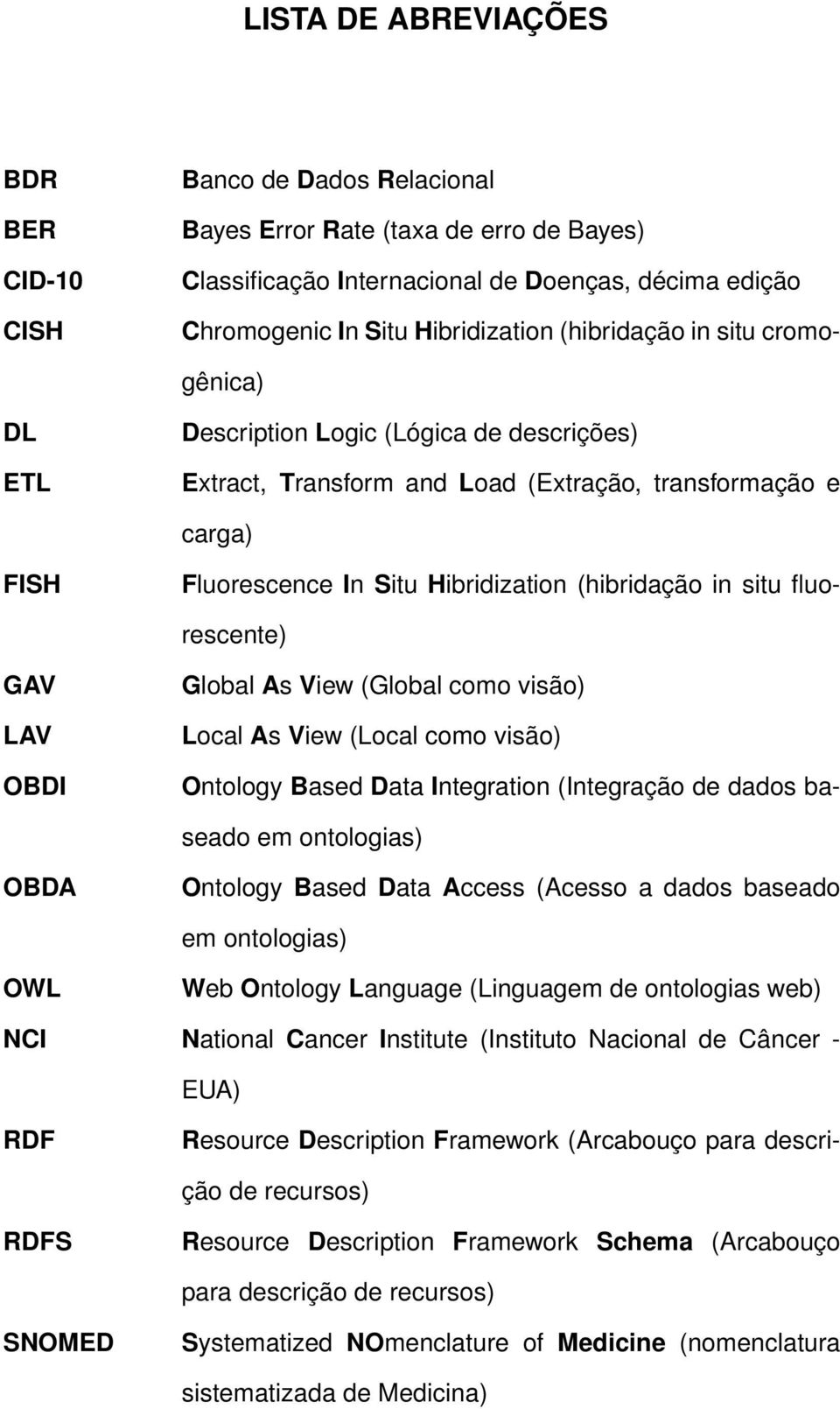 situ fluorescente) GAV LAV OBDI Global As View (Global como visão) Local As View (Local como visão) Ontology Based Data Integration (Integração de dados baseado em ontologias) OBDA Ontology Based